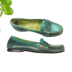 Cole Haan Vintage Green Leather Penny Loafers Sz 8